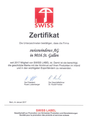 FFF-Zertifikat swisswindows